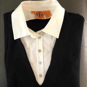 Women's Tory Burch Large Navy Sweater Collar Cuffs